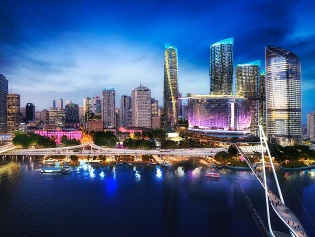 An artist's impression of the Queen's Wharf redevelopment, heralded as a transformative project for Brisbane.