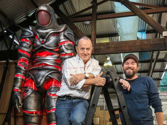 White Night artistic director David Atkins with renowned puppeteer Joe Blanck, who is creating a 10m-long lion puppet for 2019 White Night. Picture: Tim Carrafa