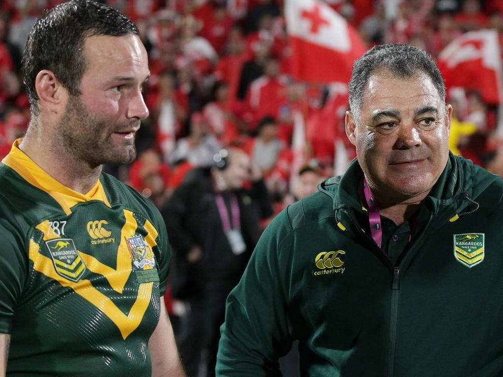 Captain Boyd Cordner (left) and coach Mal Meninga of Australia are seen following the Rugby League Test match between the Australia Kangaroos and the Tonga Mate Ma'a at Mt Smart Stadium in Auckland, New Zealand, Saturday, October 20, 2018. (AAP Image/David Rowland) NO ARCHIVING, EDITORIAL USE ONLY