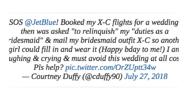 Courtney tweeted the airline begging for help. Picture: Twitter