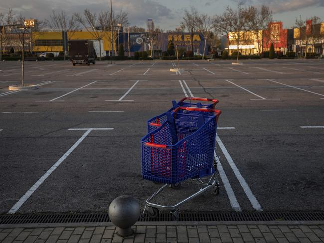 An empty parking lot in a shopping area in San Sebastian de los Reyes, the outskirts Madrid, Spain. Picture: Bernat Armangue