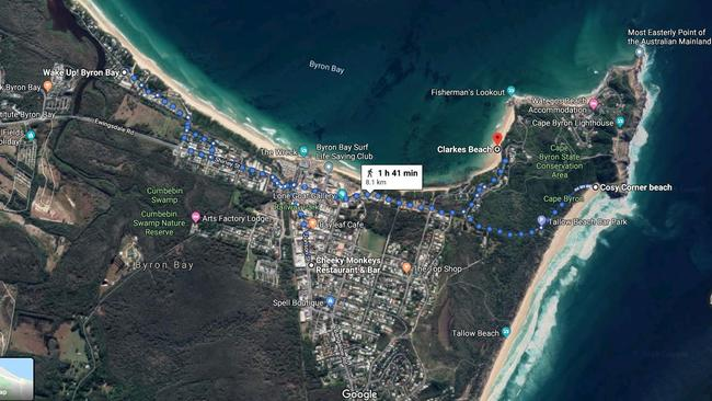 Map of where Theo Hayez was last seen drinking, his hostel, his last confirmed Google phone tracking, and the beach where the bloodied staff was found. Picture: Google Maps