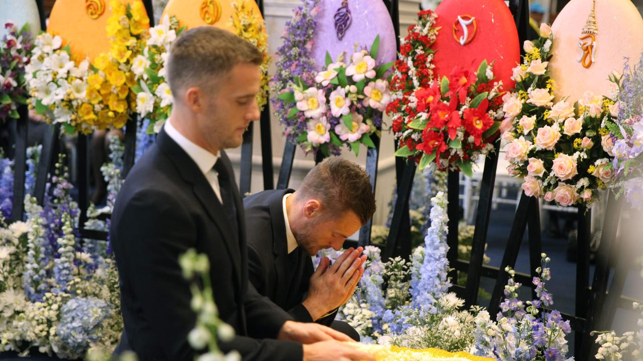 Jamie Vardy and Andy King pay their respects at the funeral