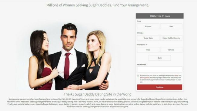 Financial arrangement dating service