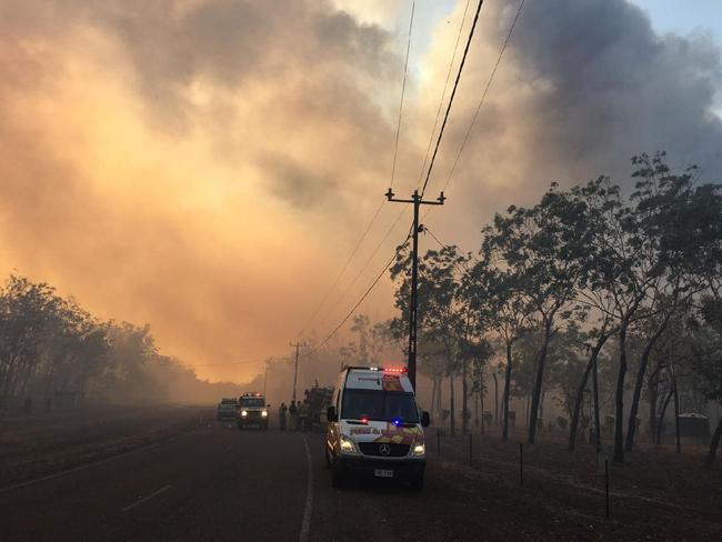 The scene at Wanderrie Rd, Humpty Doo on sunday: Picture: NT POLICE