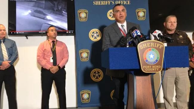 Sheriff Troy Nehls releases details of a vehicle of interest in a press conference on Friday.