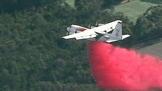 Retardant bombing at South Turramurra Picture: 9 News