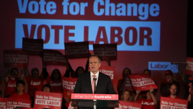 Opposition Leader Bill Shorten addressing a Vote for Change rally in the final week of the campaign.