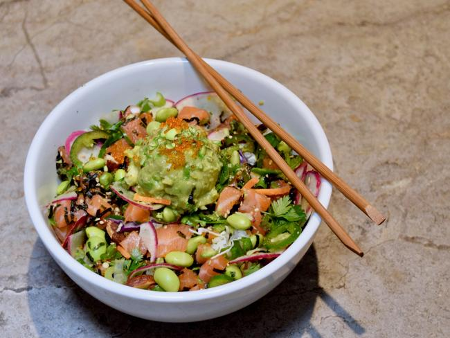 Poke bowl are a big trend at the moment. Why not try this salmon sashimi poke bow? Picture: Jenifer Jagielski