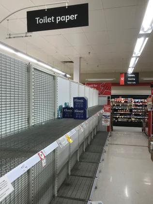 Supermarket shelves cleared of toilet roll at Coles Grafton. Picture: Facebook