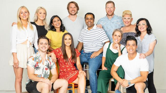 Adelaide's Ben Trobbiani, front left, and other MasterChef Australia top 12 finalists. Picture: Ten News.