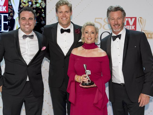 Brown with his Logie-winning team from The Living Room, from left, Miguel Maestro, Amanda Keller and Barry Du Bois. Picture: Jason Edwards