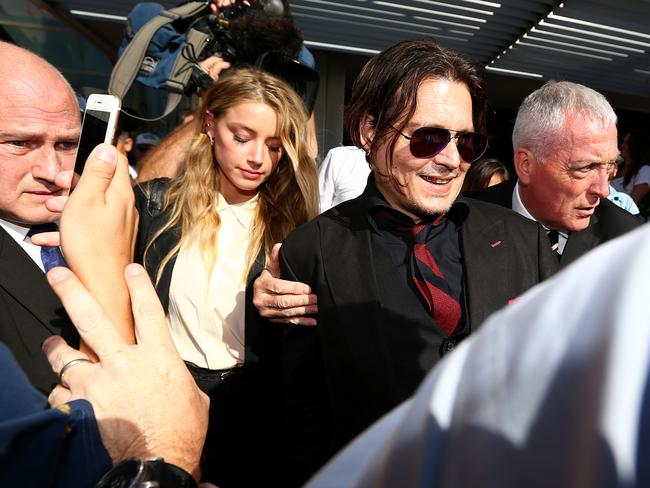 Johnny Depp and his wife Amber Heard appear during a court appearance in Queensland. Picture: Adam Head