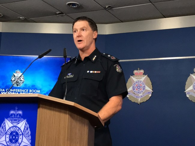 Deputy Commissioner Shane Patton speaks to the media this morning in Melbourne. Photo: AAP Image/Kaitlyn Offer