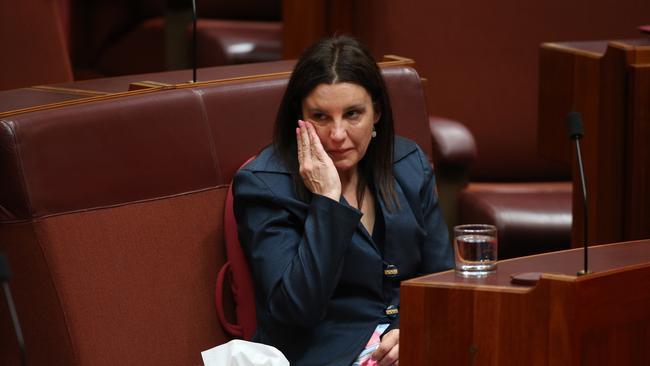 A tearful Lambie bids farewell to her political adventure. Photo: Gary Ramage