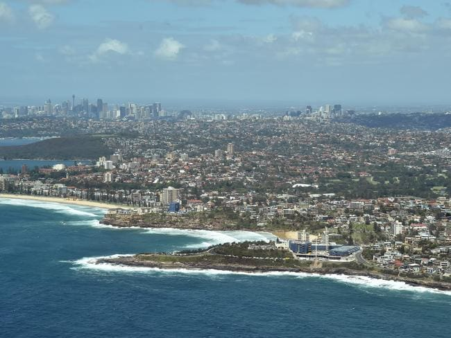 An aerial view of the northern beaches which has the highest price growth in NSW over 12 months.