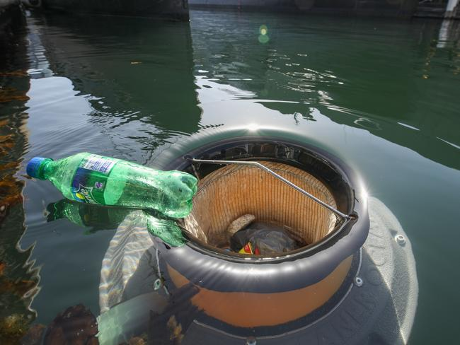 The Seabin works by sucking in and holding surrounding rubbish and debris.