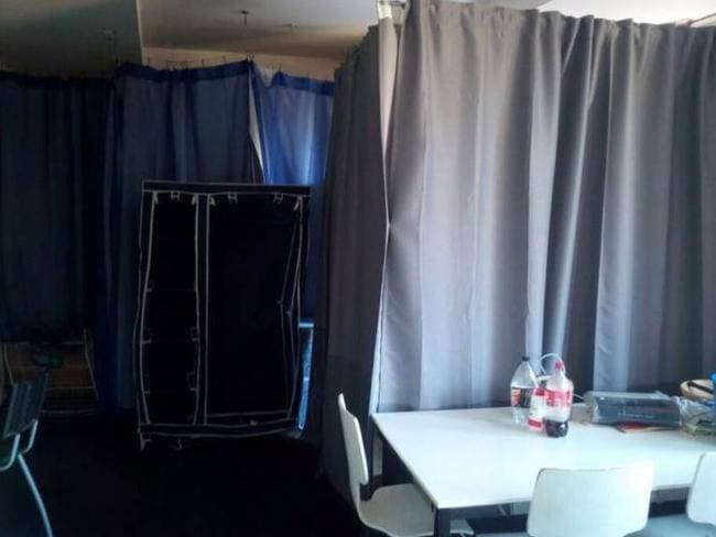 Bedrooms in a share house separated by curtains. Picture: Gumtree