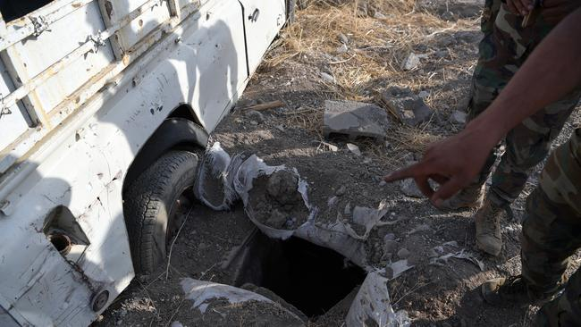 One of the many tunnels dug by IS fighters in a village now recaptured by the Kurds during the battle to retake Mosul. Picture: Carl Court/Getty