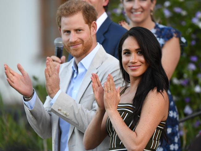Prince Harry, Duke of Sussex and Meghan, Duchess of Sussex attend a reception for young people, community and civil society leaders at the Residence of the British High Commissioner, during the royal tour of South Africa on September 24, 2019 in Cape Town, South Africa. Picture: Facundo Arrizabalaga/Getty Images