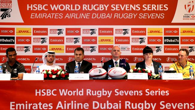 A press conference ahead of the Dubai Sevens at Crowne Plaza.