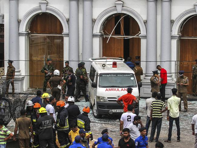 Sri Lankan Army soldiers secure the area around St. Anthony's Shrine. Picture: AP