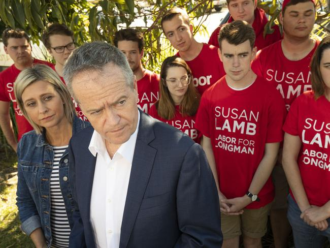 Opposition Leader Bill Shorten with newly elected member for Longman Susan Lamb in Narangba, north of Brisbane. Picture: Glenn Hunt