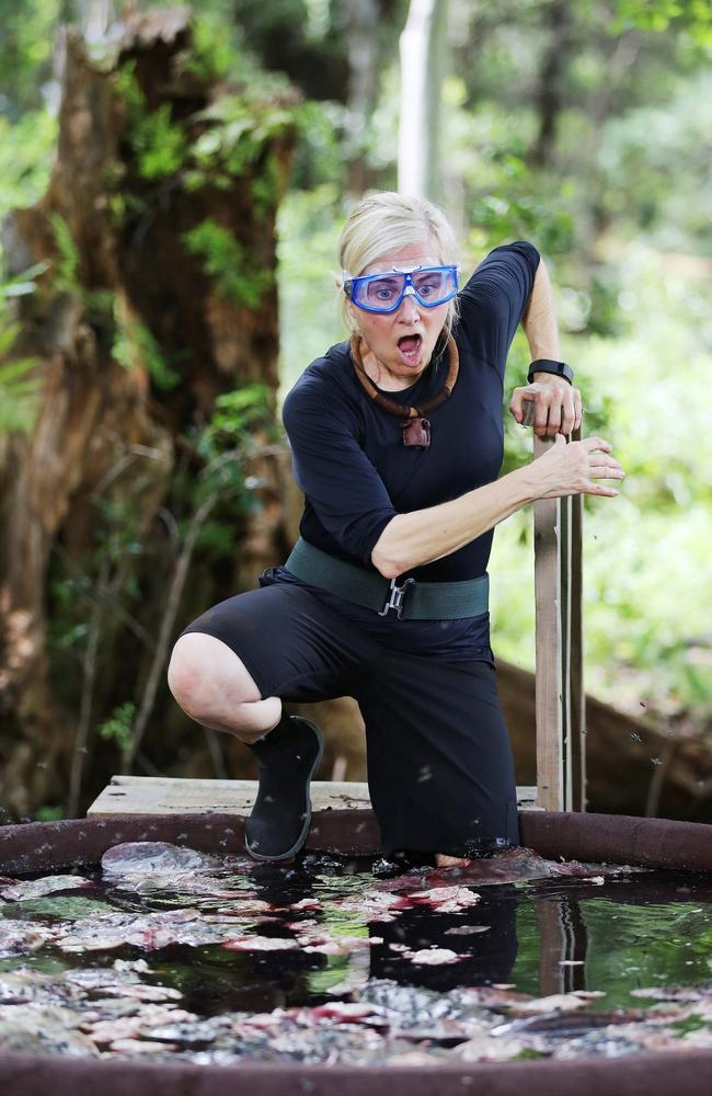 Proud ... the former Brady Bunch star gets her feet wet in the jungle. Picture: Ten