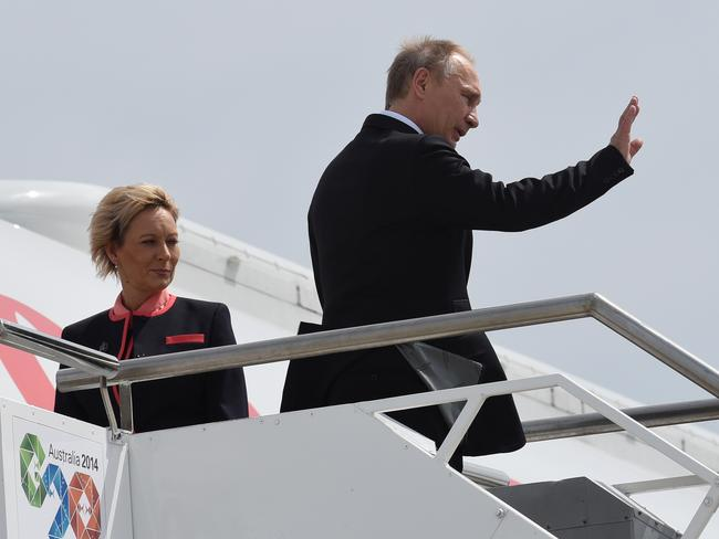 Can't wait to get out of here ... Russian President Vladimir Putin departs Brisbane after the G20 yesterday. Picture: Steve Holland / Getty