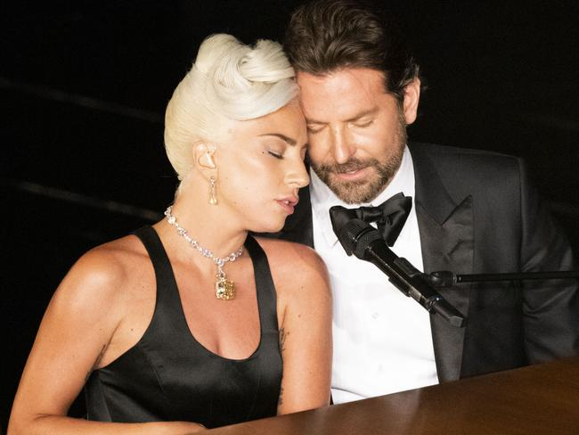 Lady Gaga and Bradley Cooper at the Oscars. Picture: Getty