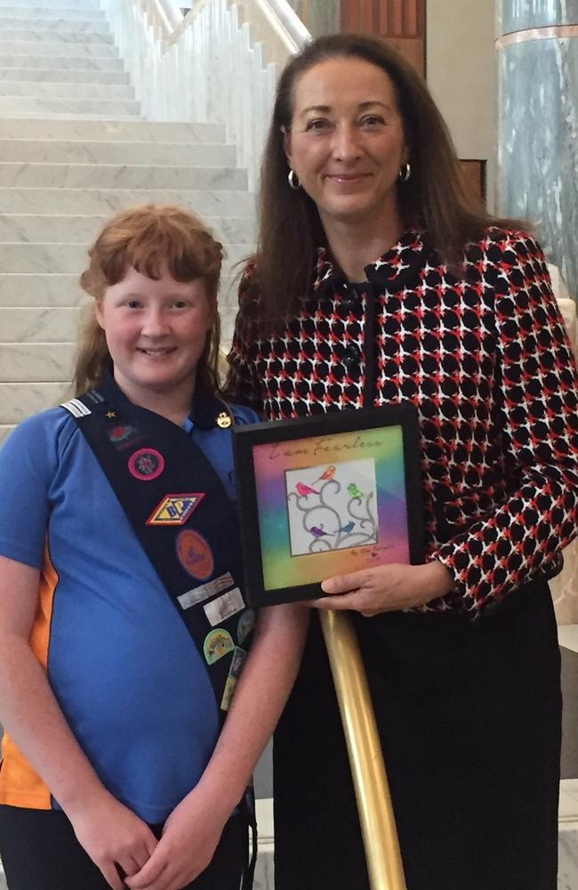 Canberra school student Ella Ezergailis with Labor member Gai Brodtmann during the school visit.