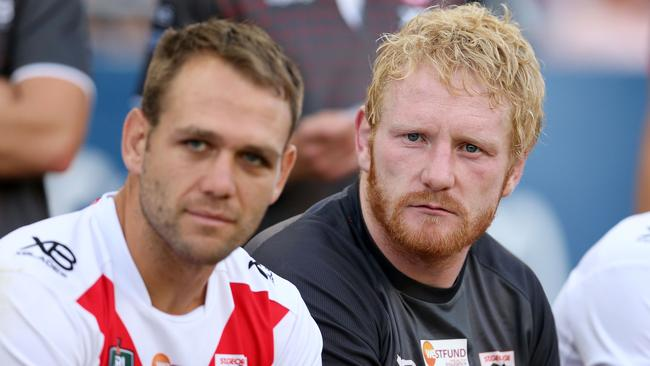 James Graham of the Dragons looks on from the bench.