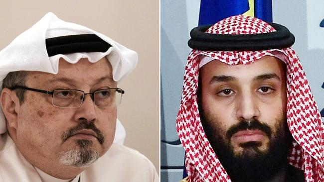 Jamal Khashoggi (left) was murdered in the Saudi kingdom's Turkish consulate last year. Saudi prince Mohammad bin Salman (right) has taken 'responsibility' for the murder but denied ordering it. Picture: Mohammed Al-Shaikh and Oscar Del Pozo / AFP