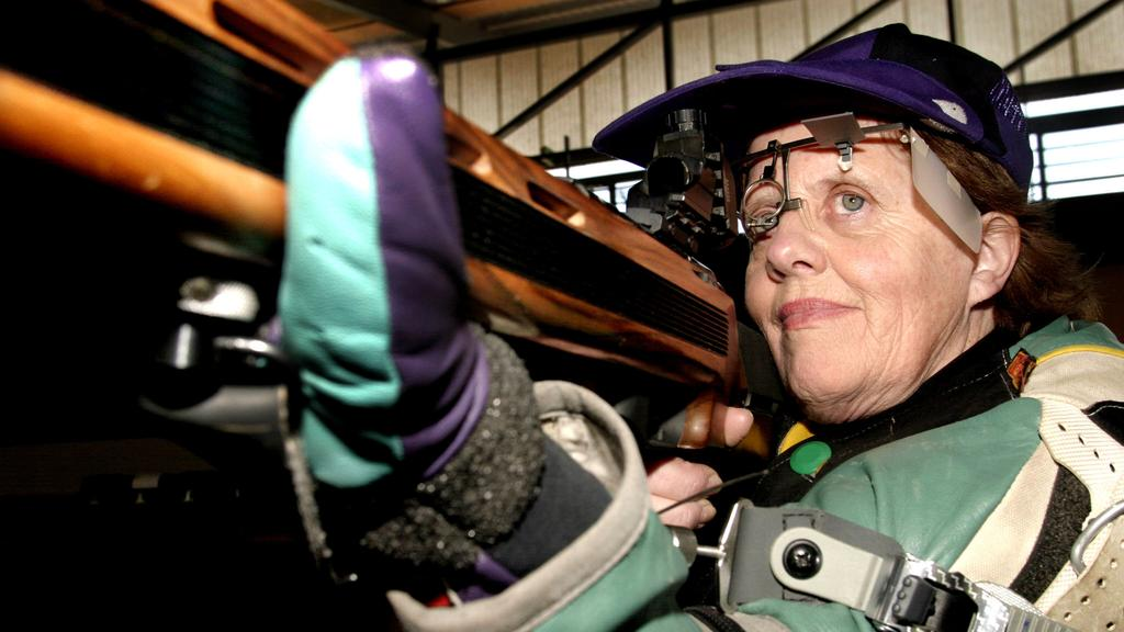Libby Kosmala training for the 2004 Paralympics at the Sydney International Shooting Centre.