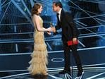 Emma Stone accepts Best Actress for 'La La Land' from Leonardo DiCaprio onstage during the 89th Annual Academy Awards on February 26, 2017 in Hollywood, California. Picture: Getty