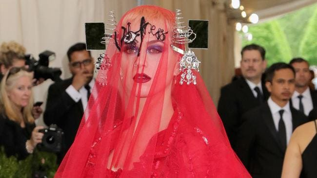 Katy Perry was dressed as some kind of bride from Hell in 2017. Picture: Neilson Barnard/Getty Images/AFP