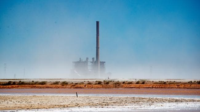 The ash is blown from the Northern Power Station at Port Augusta. Picture: Matt Turner