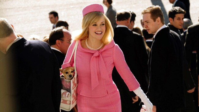 Actress Reese Witherspoon with a dog in her bag in 2003 film Legally Blonde 2