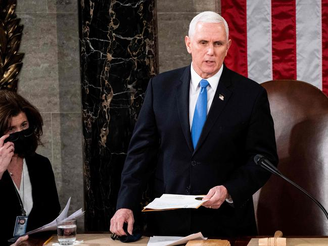 US Vice President Mike Pence was overseeing over a joint session of Congress to count the electoral votes for President. Picture: Erin Schaff/AFP