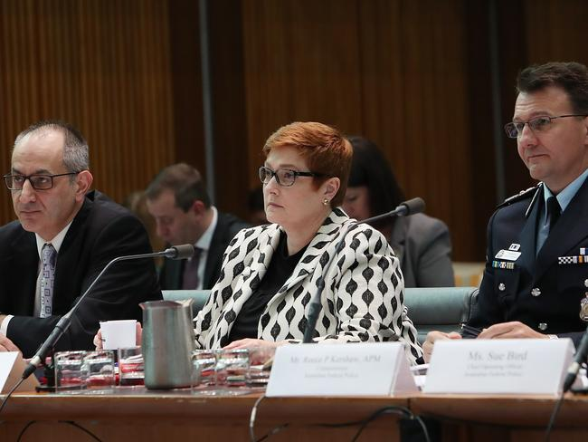 Secretary of the Department of Home Affairs Michael Pezzullo, Foreign Affairs Minister Marise Payne and AFP Commissioner Reece Kershaw appearing at a Senate Estimates hearing on Legal and Constitutional Affairs at Parliament House in Canberra. Picture Kym Smith