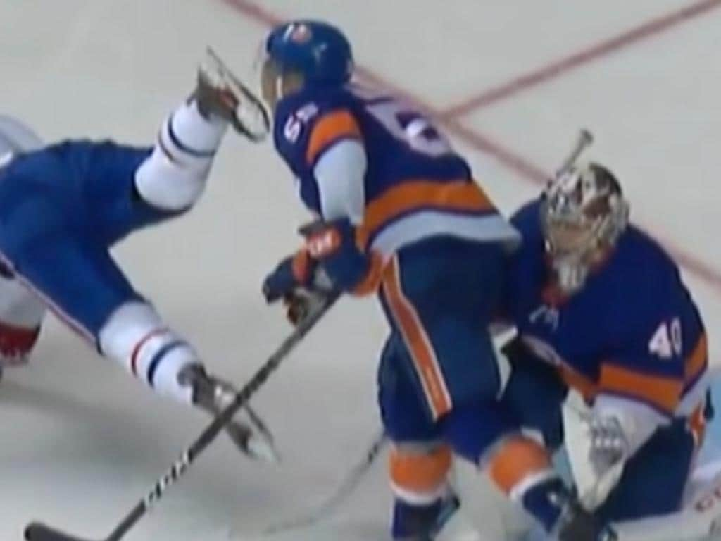 Johnny Boychuk receives a skate to the face from Artturi Lehkonen.
