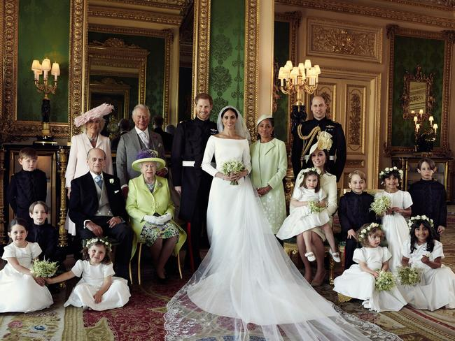 Prince Harry and Meghan Markle pictured with the royal family and the bride's mum, Doria Ragland. Picture: MEGA