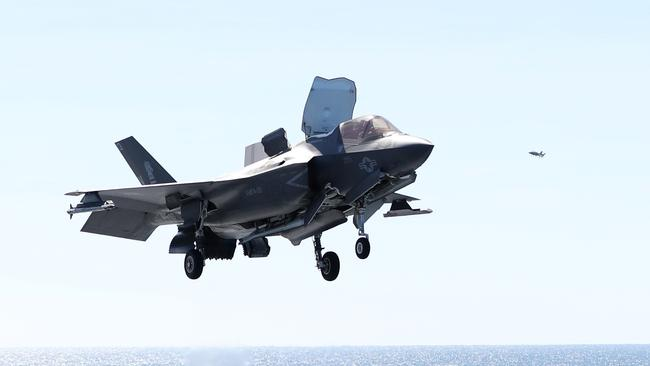 An F-35B landing on the Wasp.