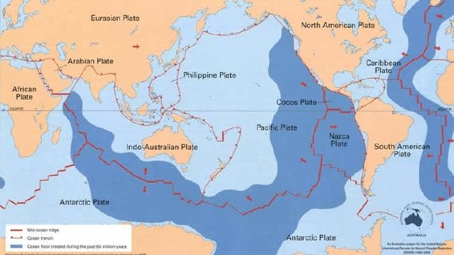 Earthquakes are common along the red lines that are the plate boundaries — fault lines. Picture: Geoscience Australia