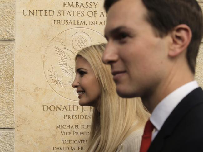 Ms Trump and her husband, White House senior adviser Jared Kushner, hailed the President for delivering on a promise at a grand ceremony 64 kilometres from the 'massacre'. Picture: AP Photo/Sebastian Scheiner