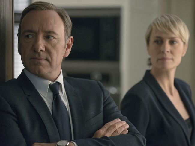 The multi award-winning drama House of Cards, which stars Kevin Spacey and Robin Wright, can be streamed on Foxtel Play. Picture: Nathaniel Bell
