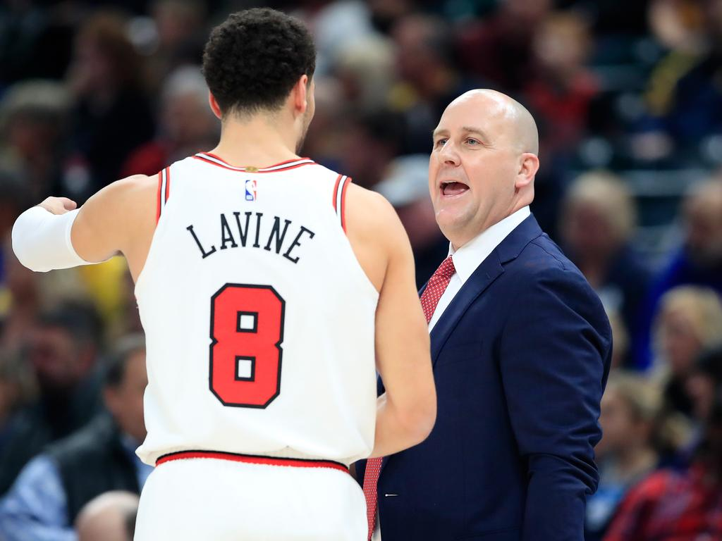 INDIANAPOLIS, IN - DECEMBER 04: Jim Boylen the head coach of the Chicago Bulls gives instructions to Zach LaVine #8 during the game against the Indiana Pacers at Bankers Life Fieldhouse on December 4, 2018 in Indianapolis, Indiana. NOTE TO USER: User expressly acknowledges and agrees that, by downloading and or using this photograph, User is consenting to the terms and conditions of the Getty Images License Agreement. (Photo by Andy Lyons/Getty Images)