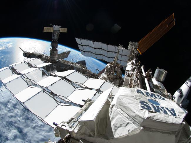 The Alpha Magnetic Spectrometer (AMS) was installed by the International Space Station. experiment installed during the STS-134 mission. Picture: NASA/AFP Photo