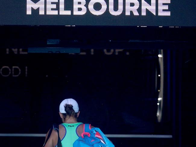 Ashleigh Barty leaves the court.