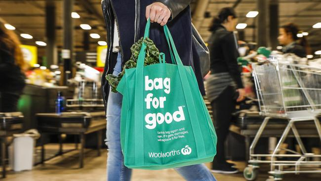 Supermarkets are encouraging customers to use sturdy reusable bags. Picture: AAP